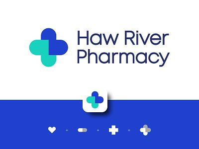 Haw River Pharmacy symbol mark logodesigner medical logo pill heart cross branding brand logo app medicine medical pharmacy
