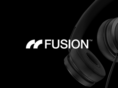 FUSION™ behance brand identity electronic headphones brand identity minimal branding symbol mark logo
