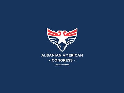 Albanian American Congress eagle logo logomark minimal logodesigner usa branding brand symbol mark logo bird animal eagle congress albanian american