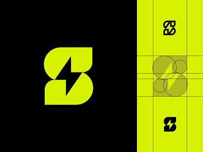 S + Bolt monogram logo thunder logo bolt logo bolt thunderbolt thunder monogram typography minimal branding symbol mark logo