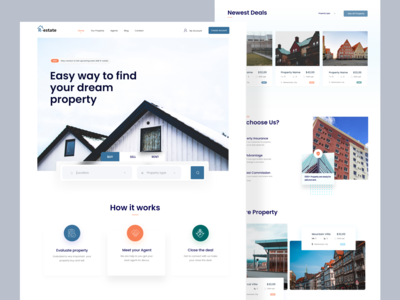 Real Estate Web Exploration real estate agency ui uiux product designer designer landing page madhu mia populer dribbble best shot trendy app web website rent listing property website design realestateagent agent realestate