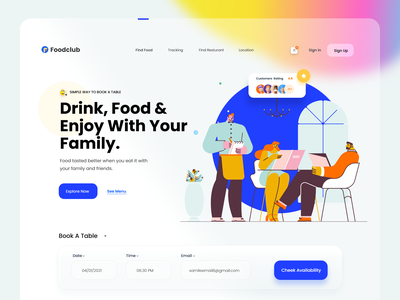 Table Booking / Restaurant Web UI Concept madhu mia uiux web designer food website food app bookig table booking restaurant reservation recipe pizza meal lunch food fast food delivery food cafe breakfast