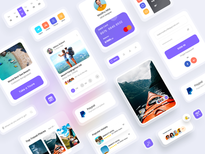 Travel UI Kit Exploration Concept tour trendy design travel app travelling dribbble best shot uiux designer travel web tourism travel agency app design location uiux ui calander travel guid ui kit uikit component travel trip
