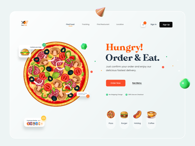 Food Web Landing Page UI best shot popularshot designer website gradient clean minimal madhu mia trending trendy 3d illustraion food illustration landing page ui web food app food delivery food and drink food