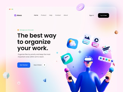 Alexa  Landing Page UI Design light version visual design madhu mia 3d gradient dribbble best shot popular shot designer ux uiux illustration startup website interface ui designer home page trending ui design landing page design landing page