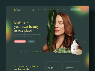 Beauty Spa Institute Website Design agency organic shop landing page product designer popular shot dribbble best shot madhu mia trendy gradient designer app web ecommerce e-commerce shop yoga institute spa beauty product beauty website