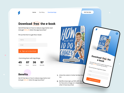 E-book Marketing Landing Page UI Design visual design agency landing page designer trendy design clean ui minimal ebook download download ebook layout madhu mia ebook design ebook app website design ebooks ux ui ebook marketing web design ebook landing page ebook