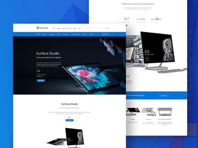 Surface Studio Landing Page Deisgn Concept web design app best microsoft ux ui design landing page surface studio