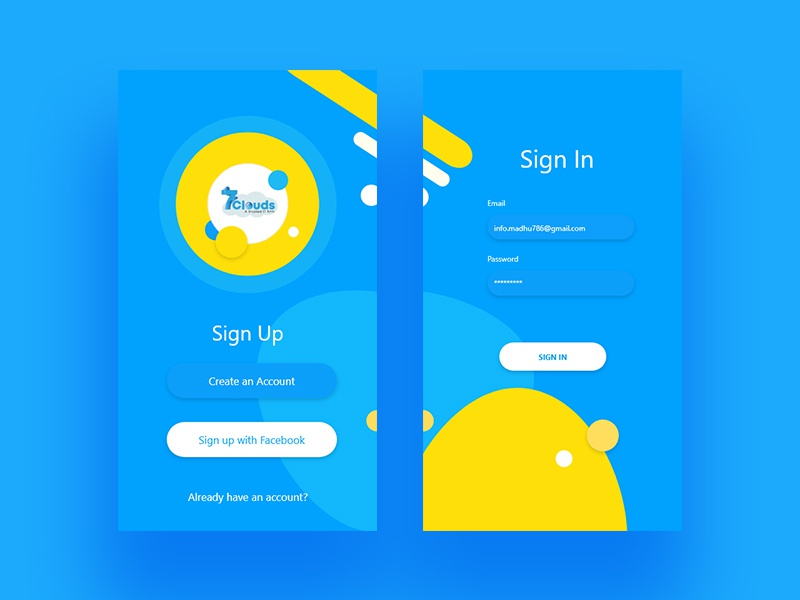 Sign in & Sign up UI madhu mia app 7cloudes design app mobile ios uidesign ui pack login sign up sign in
