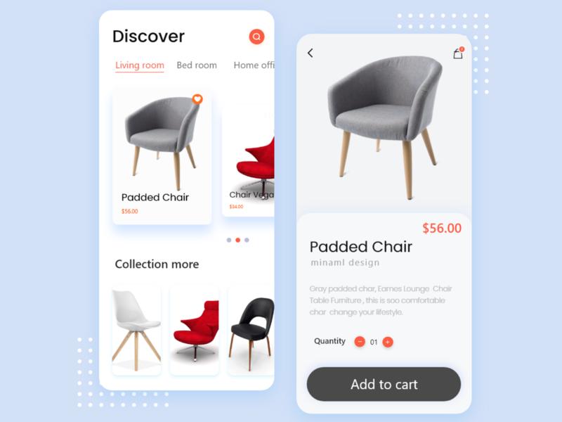 Furniture Shopping App madhu mia accessories uiux minimalist minimal shopping add to cart furniture ecommerce app shop web