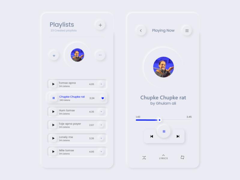 Music Player App  UI mobile design ios soft ui 2020 trend mobile app madhu mia music music album minimal app design uiux app player music app neumorphism