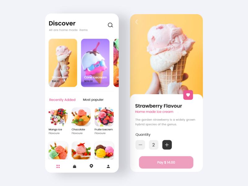 Ice Cream Shop UI minimal madhu mia color cool design home iphone order food ecommerce ice cream icecream application app