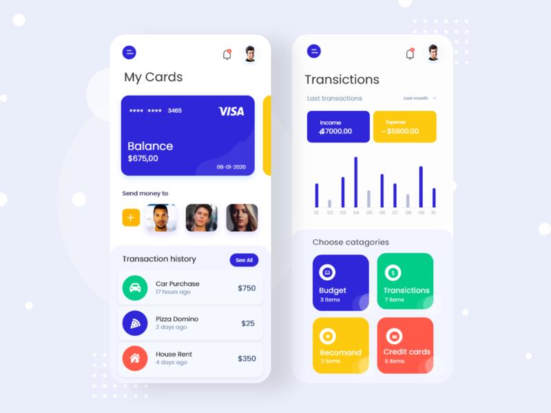 Banking app design android ios mobile design wallet app madhu mia bank app ui new app design 2020 payment getaway app finance app credit card bank card bank app