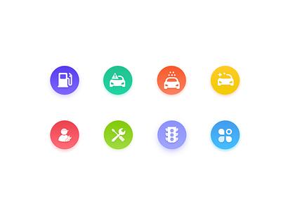 car repair  icon color gradient refueling wash ios car icon