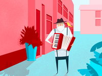The elderly who play the organ flower dion accor music bird street illustration man old pink building