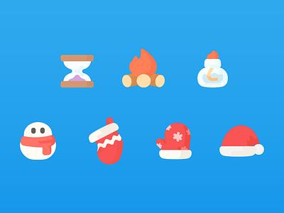 Onion Math Icons hourglass lamp alcohol bonfire socks christmas hat gloves snowman icon