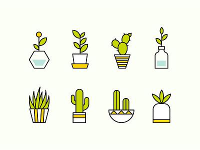 plants icon-1 ceramic green vase flower cactus icon pots plants leaves illustration