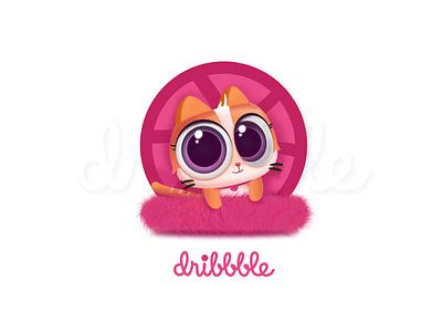 Hello Dribbble app ui pink meow logo debut cute cat animals wallpaper dribbble hello