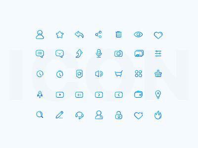 Linear Icon ui sketch flat design outline ios color linear icon blue app