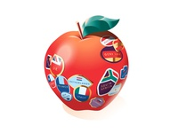 Which? Magazine –Where is your apple from? 🇬🇧 grocery supermarket food supply chain global countries infographic stickers vector apple