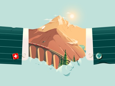 Die Weltwoche – Die Zukunft der Globalisierung viaduct landwasser train landscape mountains alps switzerland swiss impact handshake business globalisation world global