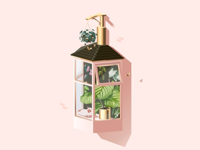 Natural Sanitiser philodendron calathea monstera sannitiser sanitiser gold house home hand wash window plant plants isometric illustration