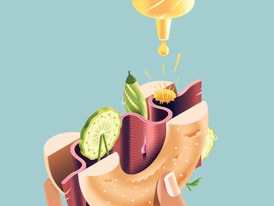 Made in Manhattan (eaten in London) gradients vector food city london pickle gherkin mustard beef salt bagel new york
