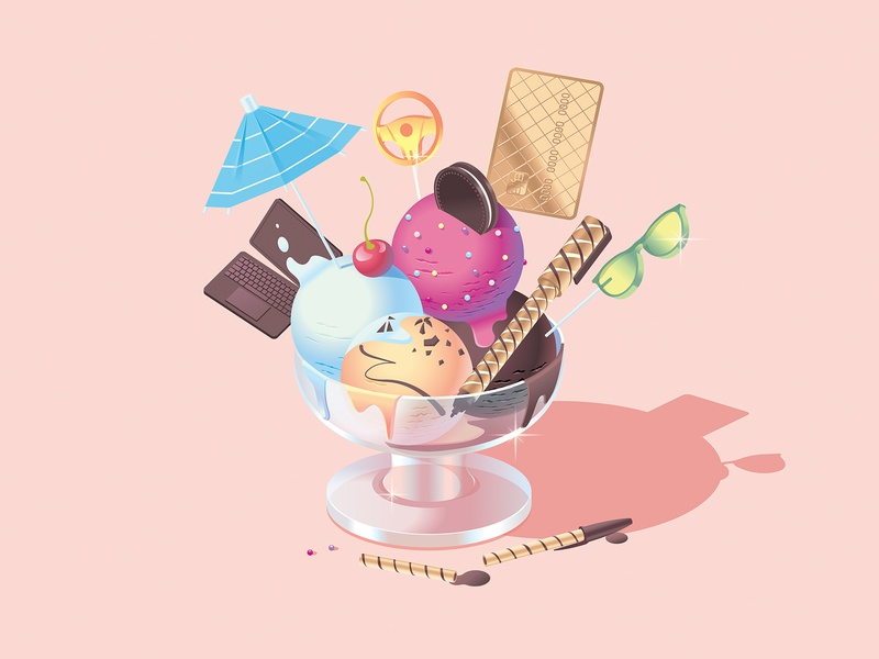 Which? Money – Bank account upgrades 🍦 – Inside spread summer shades pen insurance icecream ice fancy cream cone chocolate banking bank