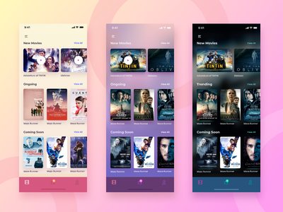 Screen variation for movie app iphone app minimal interface design mobile app design colorful app mobile app ui screen variation ios app design movie app