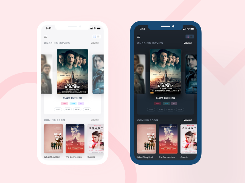 Movie app design exploration ux design ui design sketch light and dark version iphone x app design iphone app movie app minimal app design interface design app design