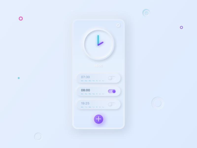 Alarm clock APP neumorphis ui ux interface illustration