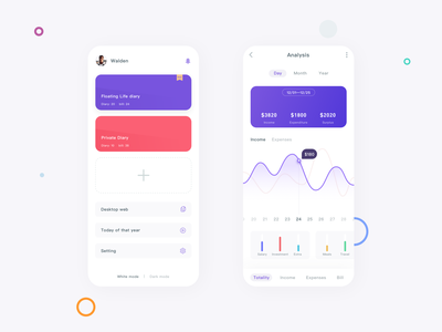 Bookkeeping & Diary app ux interface ui