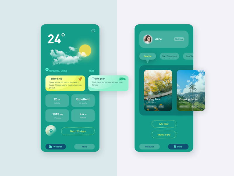 Weather&tour APP ux design interface ui