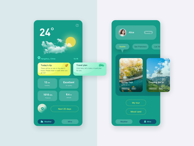 Weather&tour APP ux design interface ui