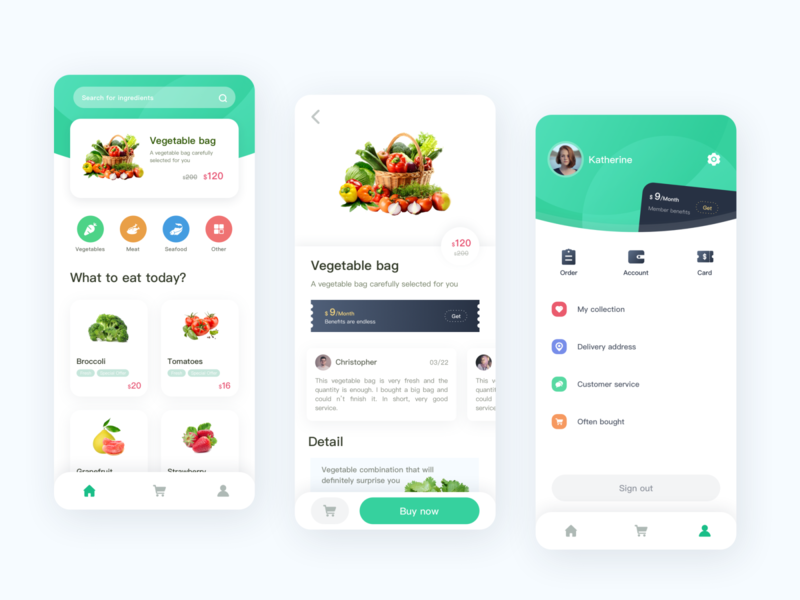 Buy ingredients APP ux design interface ui