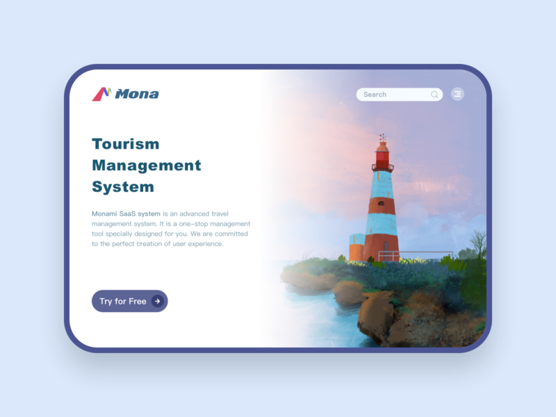 Tourism  Management  System landingpage ux design ui interface