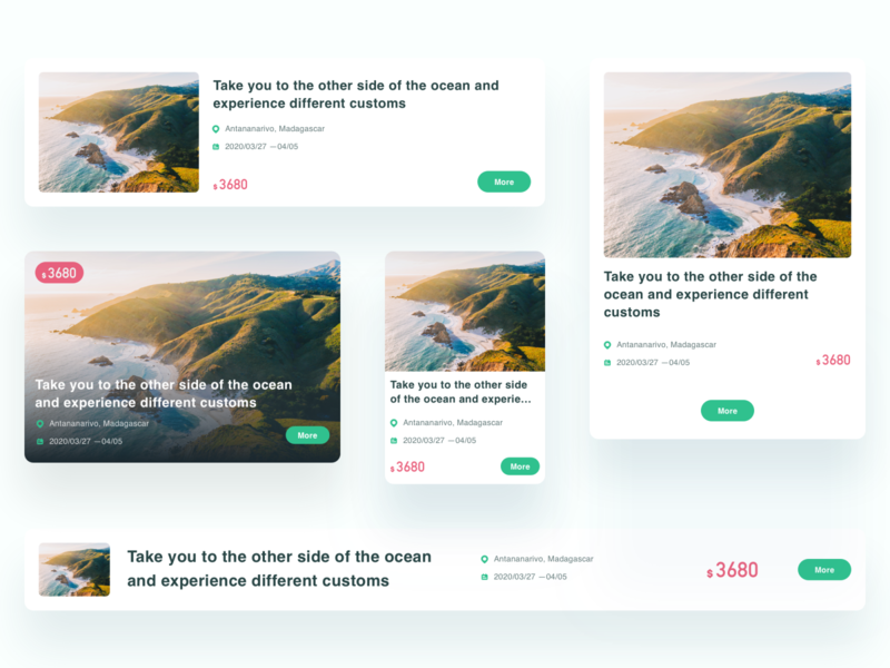 Adaptive module of tourism project ux design interface ui
