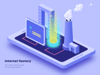 Internet factory 2.5d illustration ux design interface ui