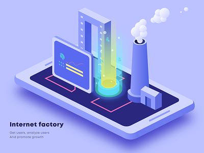 Internet factory 2.5d illustration ux design interface ui