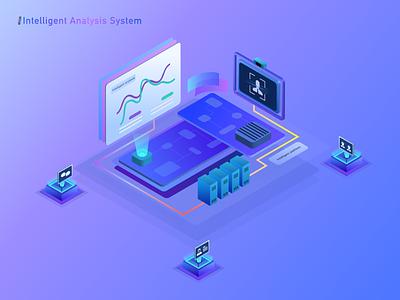 Intelligent analysis system 2.5d illustration