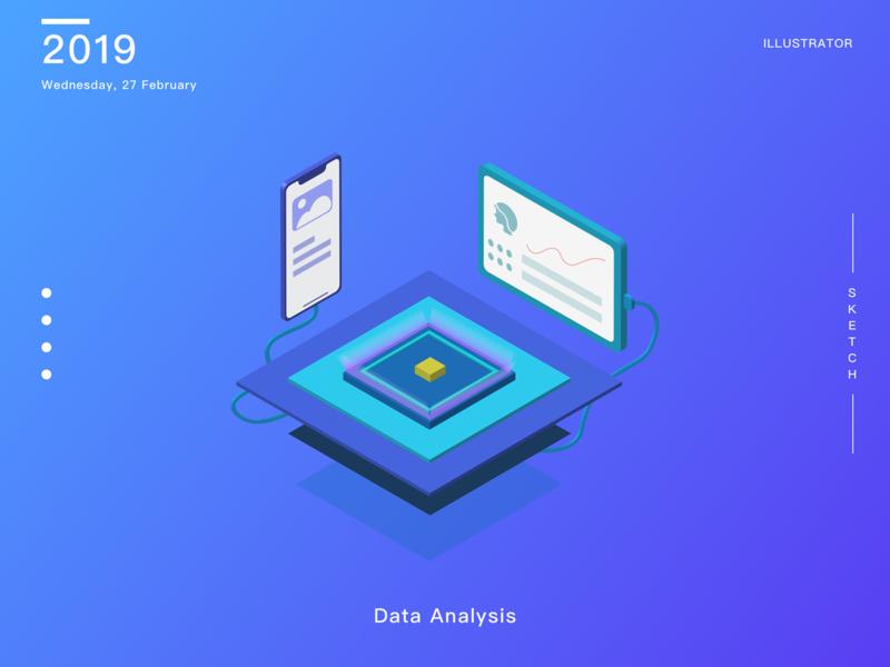 Data Analysis 2.5d illustration