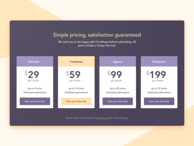 FormKeep Pricing Module