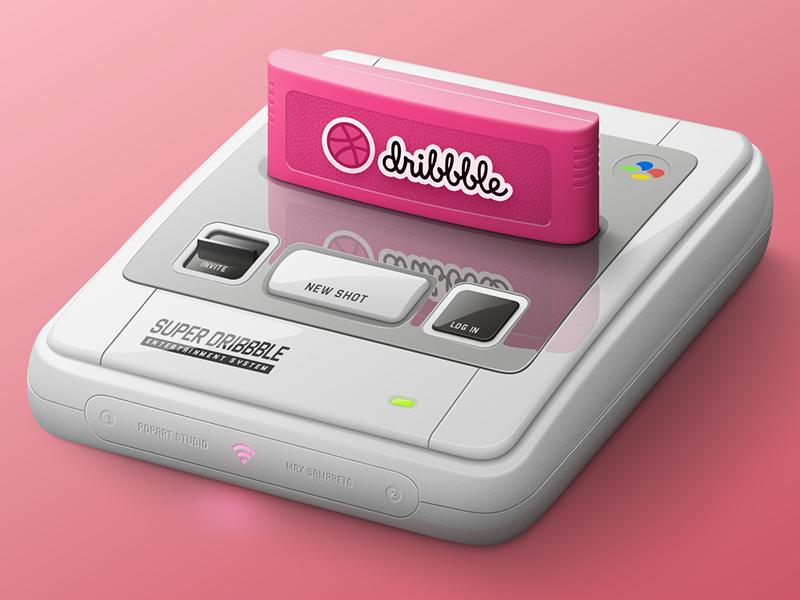 Dribbble Entertainment System photoshop illustration game debut invite nintendo snes