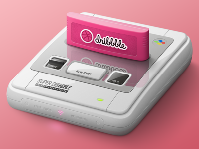 Dribbble Entertainment System photoshop illustration game debut invite nintendo snes
