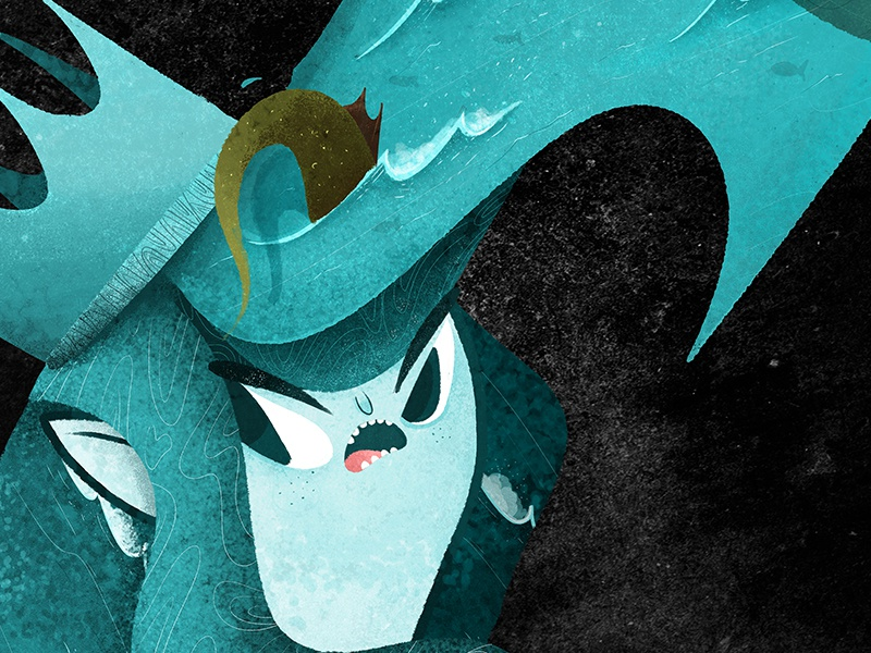 A MERMAID LOVE love night ship ocean arpon crown dragon angry blue sea hercules mermaid