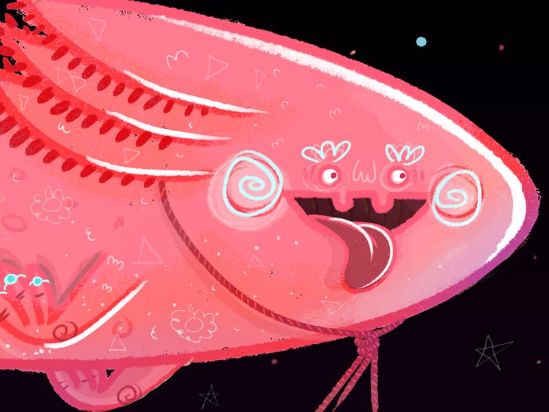EL AXOLOTE & THE TIME MACHINE night dream glasses redhair boy cycle bike machine time salamander pink ajolote