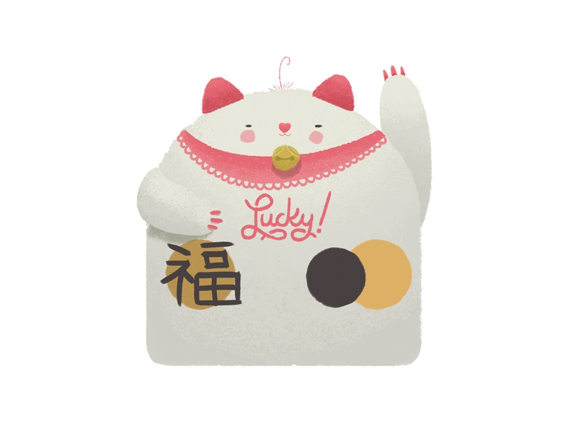 LUCKY CAT emogi neko maneki japanese sticker cat lucky