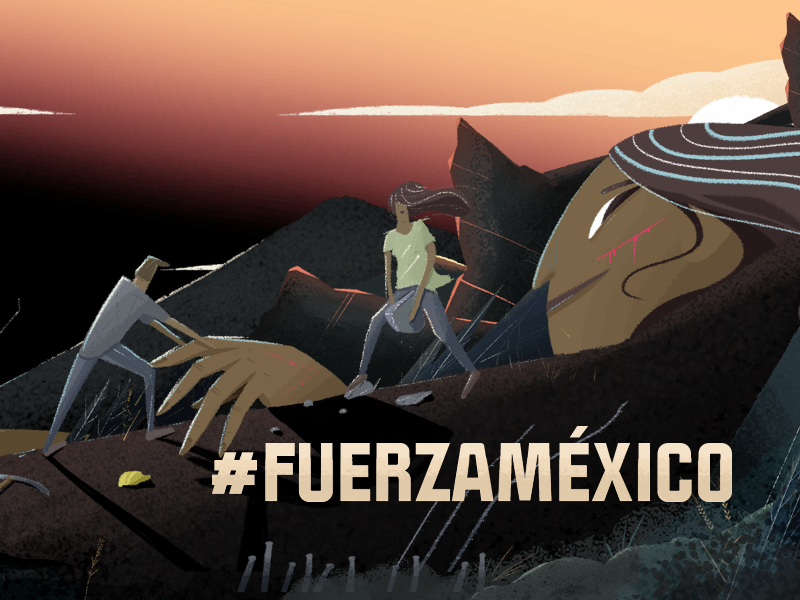 FUERZA MÉXICO photoshop illustration mexicanos catastrophe help brother union earthquake earth mexico fuerza