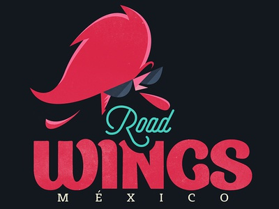 ROAD WINGS food mexico sunglasses illustration flat vector rockabilly rock charbroiled wings rooster logo