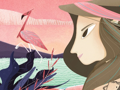SALINERA flora blackwork tattoo illustration girl whale sunset pink sea mexico flamingo merida